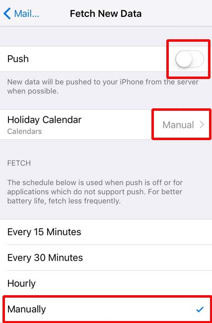 Mail Fetch setting for Apple's iPhone