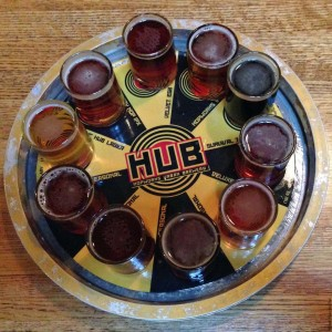 Beer tasting flight at Hopworks Urban Brewery (HUB) - Portland, Oregon