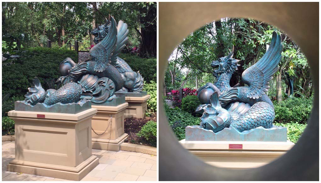 Three statues become one in the Garden of Wonders - Hong Kong Disneyland, Hong Kong, China
