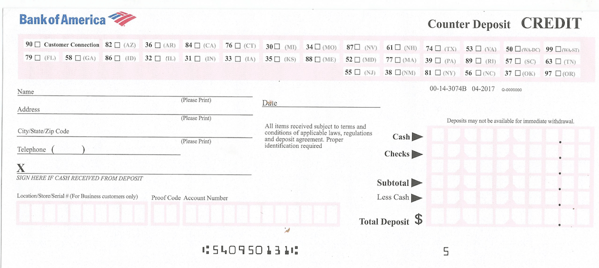 Bank Of America Deposit Slip Free Printable Template Checkdeposit Io
