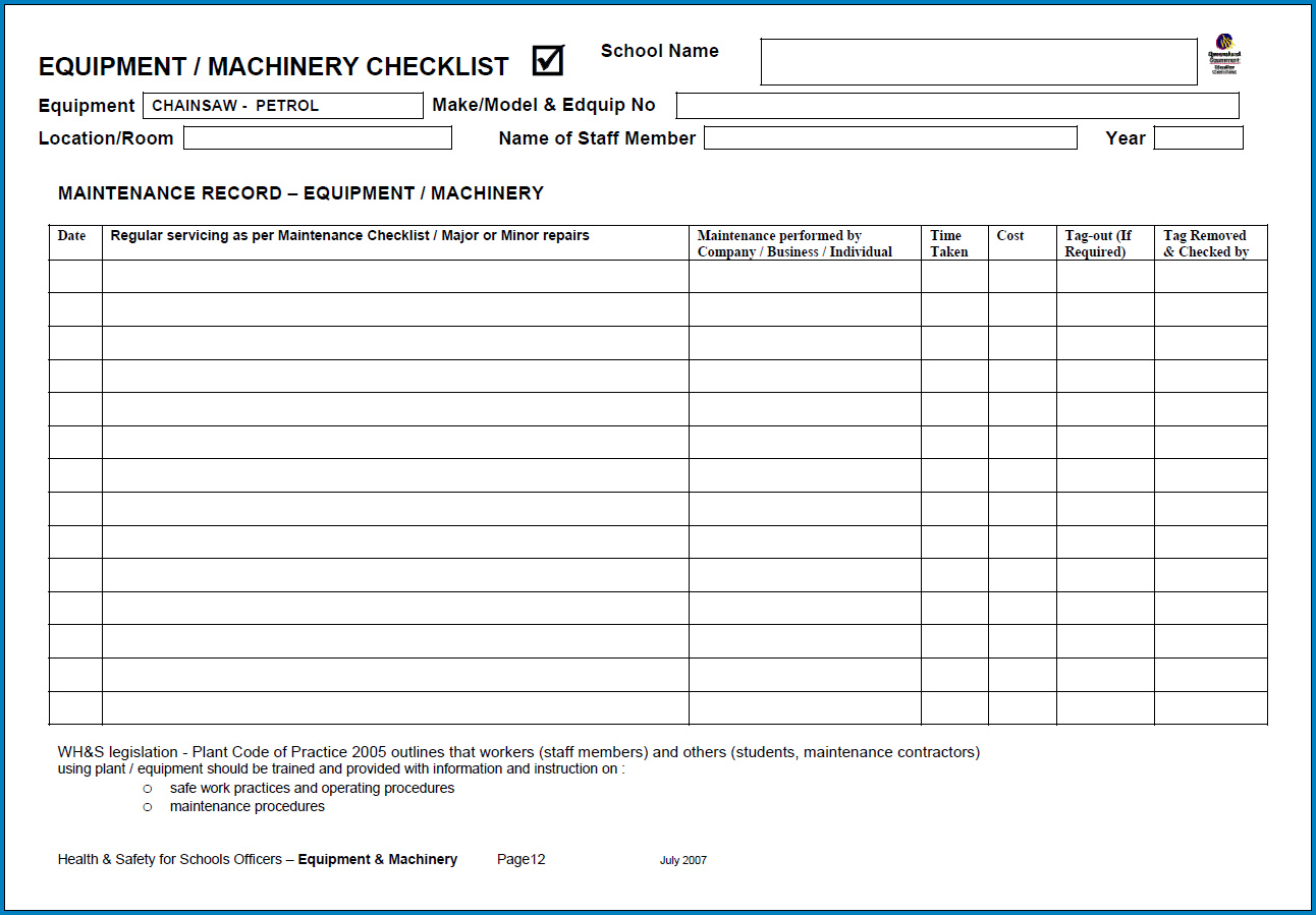 Free Printable Equipment Checklist Template