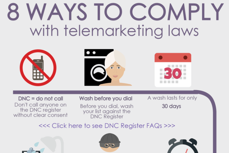 Infographic detailing 8 ways to comply with telemarketing laws
