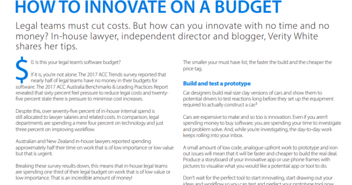 Legal innovation on a budget - Australian Corporate Lawyer, Image