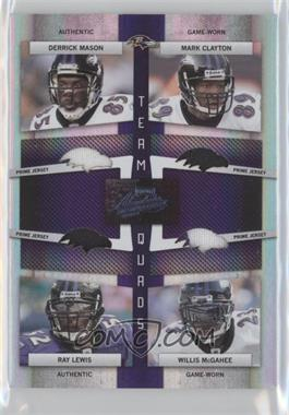 2009 Absolute Memorabilia Team Quads Materials Die Cut Spectrum Prime #15 - Derrick Mason Mark Clayton Ray Lewis Willis McGahee/25 - Courtesy of CheckOutMyCards.com