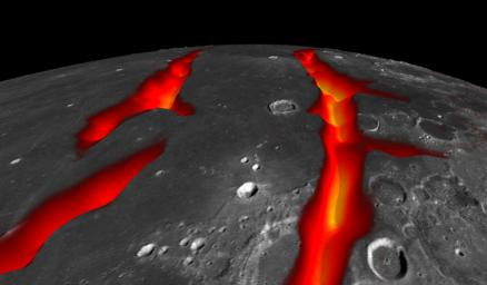 A view of Earth's moon looking south across Oceanus Procellarum, representing how the western border structures may have looked while active. This image combines gravity gradient from NASA's GRAIL and LRO.