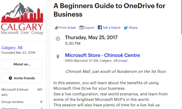 #Meetup with the Calgary Microsoft User Group #CMUG and learn about @ONEDrive for Business #OneDrive