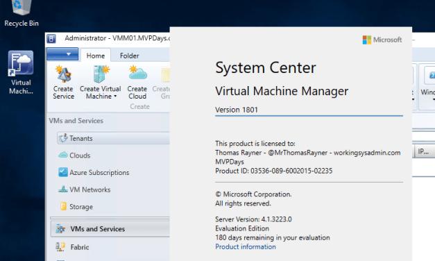 Install-SCVMM-HyperV.PS1 #PowerShell #SCVMM #SystemCenter #1801 #MVPBuzz