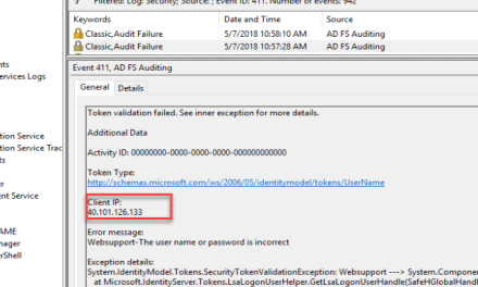 Internal Client IP Address in the 411 Security Event Channel or in Azure AD Connect Health Service – #ADFS #WAP #Loadbalancer #AzureAD