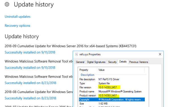 Hidden Updates to ReFS.sys Version 2457 in Microsoft KB434884 – #ReFS #Veeam #HyperV #StorageSpacesDirect