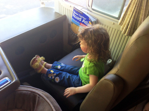 Whoah, hitchhiker in Las Vegas. Really, that's our niece and she loved the bus!