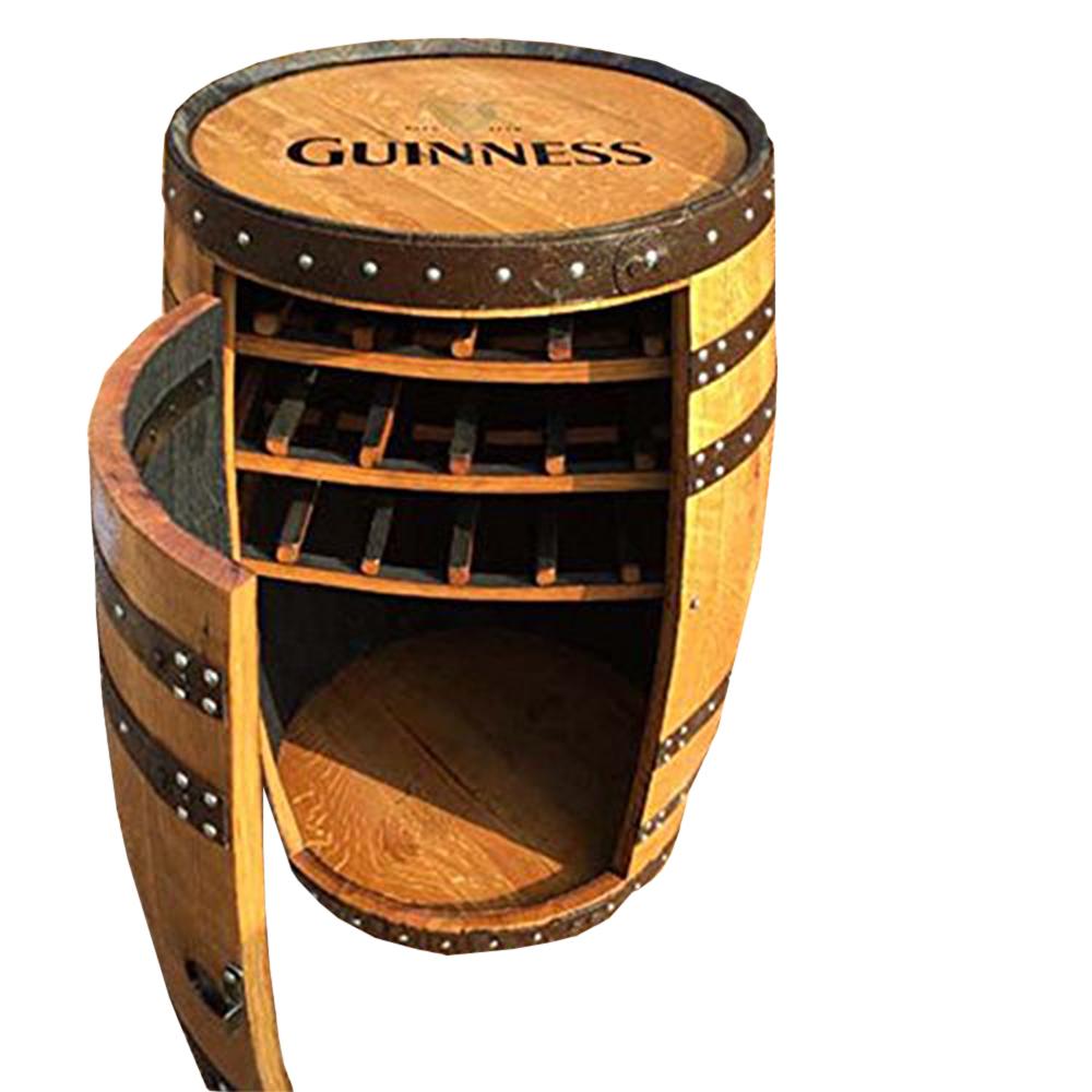 solid oak whiskey barrel guinness balmoral drinks cabinet wine rack