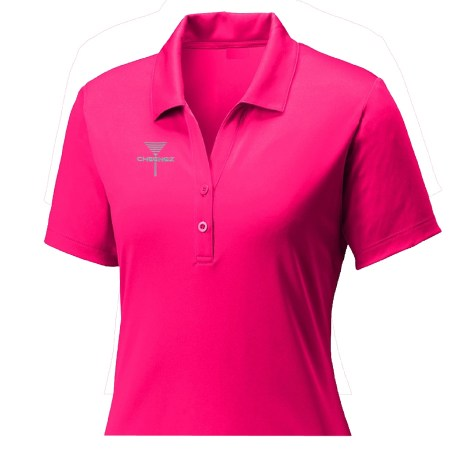 Womens Disc Golf Tournament Polo, Ladies Disc Golf Tournament Polo, Womens disc golf tee, Lady Cheengz Disc Golf Tee cheengz disc golf tee, dry fit disc golf tee, short sleeve frisbee golf tee