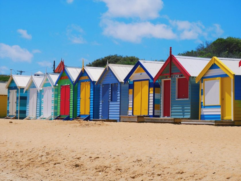 Colorful Bathing Houses at Brighton Beach