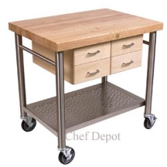Kitchen Prep Cart Recycled Cabinets John Boos Le Rustica Solid Cherry Table Cucina Veneto