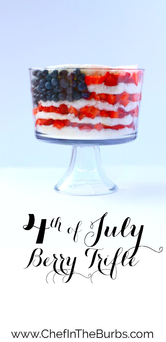 Fresh berries with angel food cake and whipped cream make this berry trifle a delicious and pretty {and FAST} dessert for any 4th of July party.