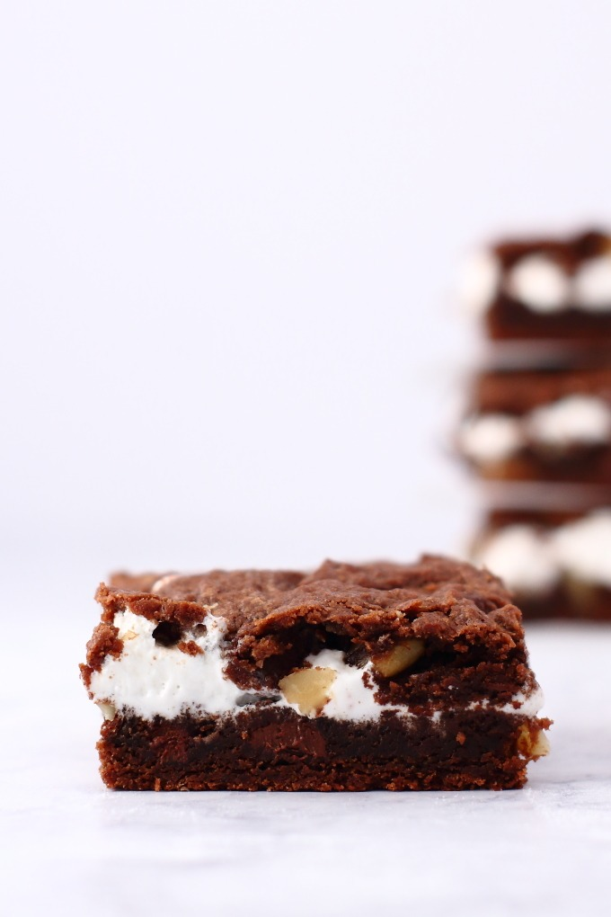 Have you ever had chocolate chip cookies made in a pan instead of individual cookies? These rocky road bar cookies are like that only chocolate-chocolate-chocolate. They have that addictive brown sugar cookie texture and are full of chocolate chips, walnuts and marshmallow creme.