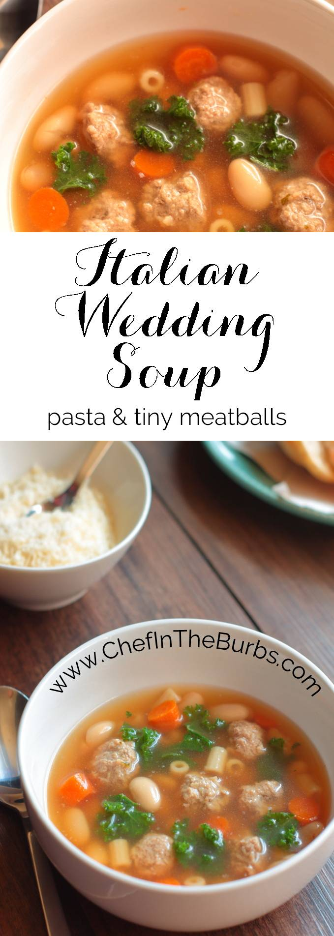 Italian Wedding Soup is a classic soup featuring pasta, fresh greens and tiny meatballs. It's perfect for a chilly fall evening.