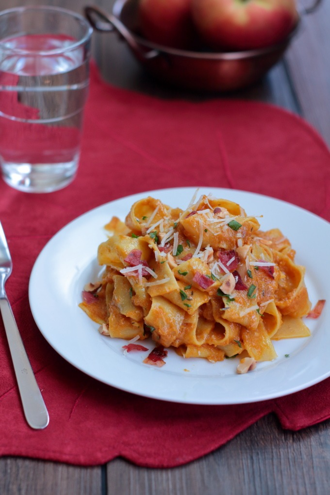 Pappardelle with Pumpkin, Bacon and Hazelnuts - Pasta is tossed in a rich, savory pumpkin sauce and sprinkled with crispy bacon and hazelnuts.