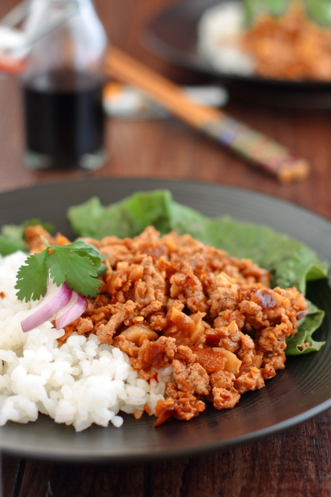 Asian Rice Bowl has sweet, spicy and pungent Asian flavors that make a great change to the same old ground turkey recipes.
