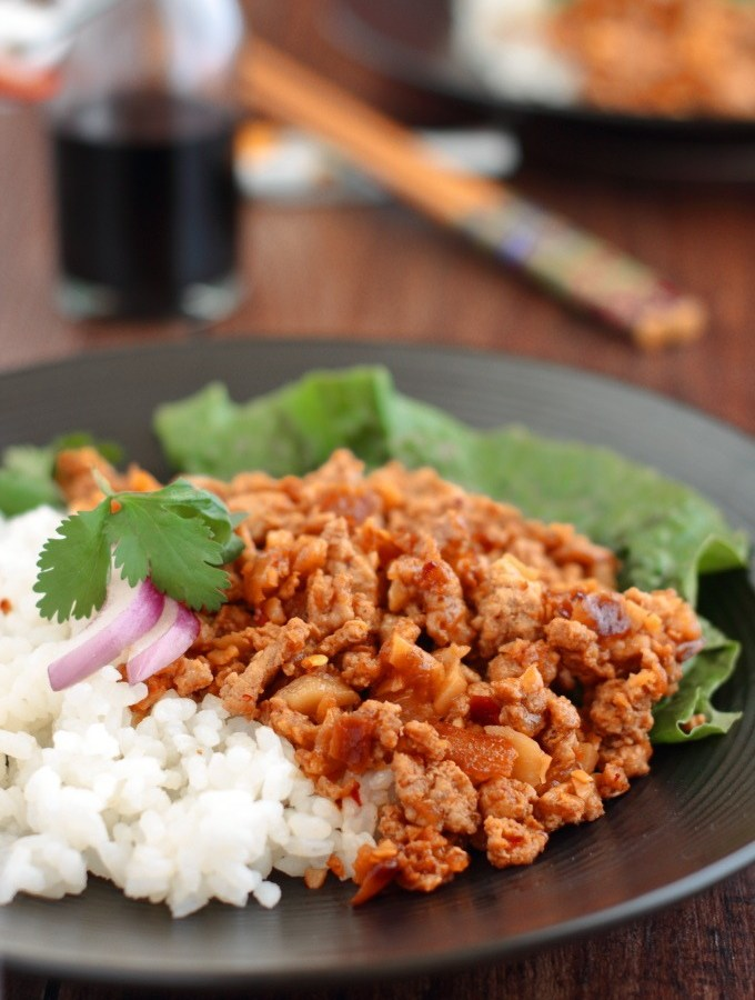 Asian Rice Bowl is quick and easy and has sweet, spicy and pungent Asian flavors that make a great change to the same old ground turkey recipes.