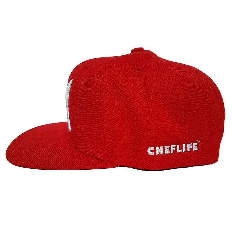 2 knives crew red snapback side view chef life
