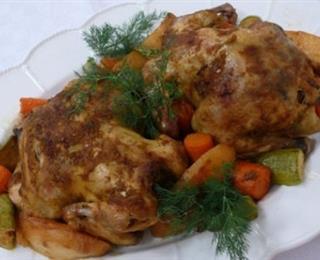 طريقة عمل دجاج وخضروات بالفرن