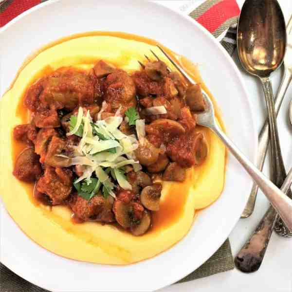 Sausage and mushroom ragu - only 6 ingredients & served with oven baked soft polenta