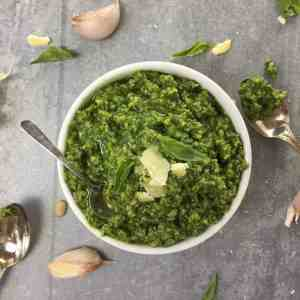 Basil Pesto - just put it all in the food processor and your done