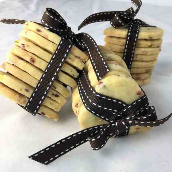 edible gifts white chocolate cranberry pistachio melt mix shortbread cookies christmas