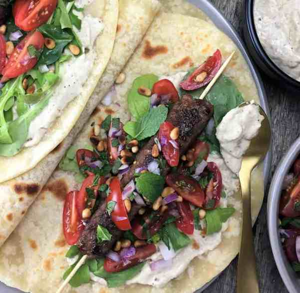 Lamb Kofta Wraps with Eggplant Yoghurt - moist & spiced ground lamb, combined with an ovenbaked eggplant & yoghurt processor sauce