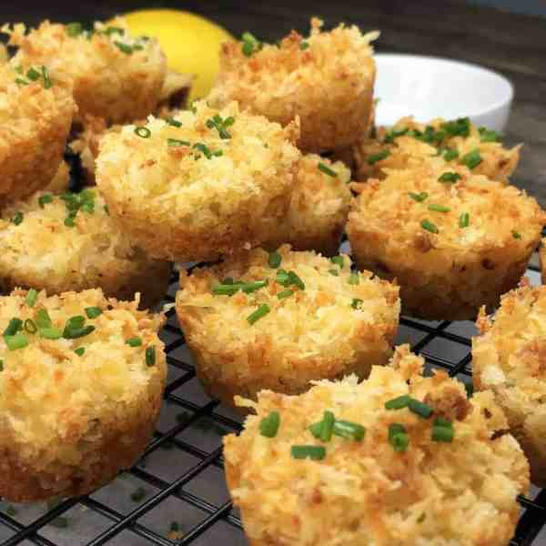 Baked One-Bite Crab Cakes - crispy & crunchy on the outside, creamy cheese & crab yumminess on the inside, and all made in a mini muffin tin