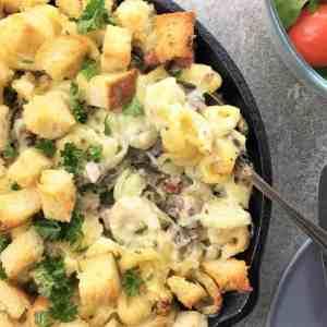 Lamb pasta bake - mac and cheese using leftover roast lamb