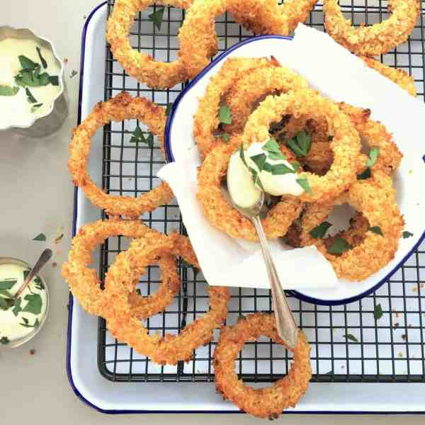 Double crunch baked onion rings with beer batter
