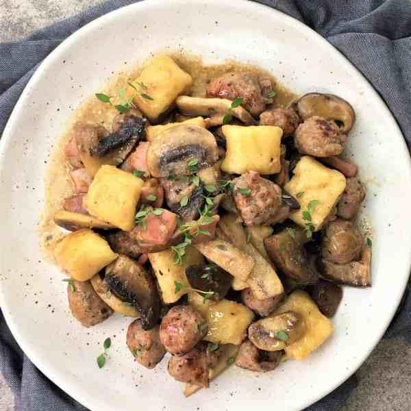 Mushroom gnocchi & meatballs - quick & simple ricotta gnocchi with mushroom & meatball sauce