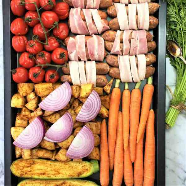 Sausage tray bake with spiced vegetables - one pan cooking at it's best!