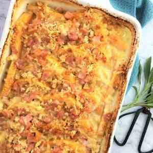 Crunchy pumpkin gratin with bacon - creamy pumpkin bake