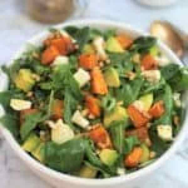 Pumpkin avocado feta salad - sweet pumpkin, creamy avocado & lemony feta