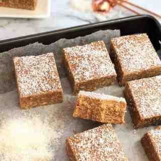 peanut butter caramel slice - no bake, melt & mix