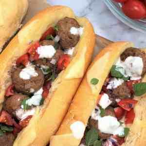 lamb meatball sandwich meatball sub mediterranean lamb