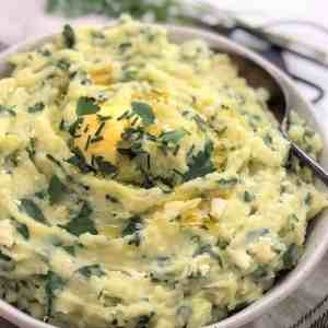 spinach mashed potatoes - loaded mashed potatoes with herbs & feta