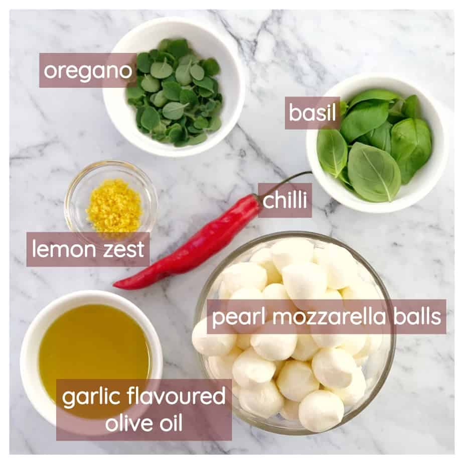 graphic showing ingredients required to make marinated mozzarella balls