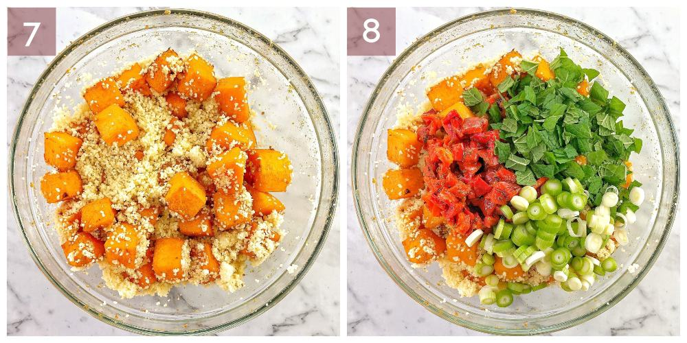 process shots showing how to make pumpkin couscous salad
