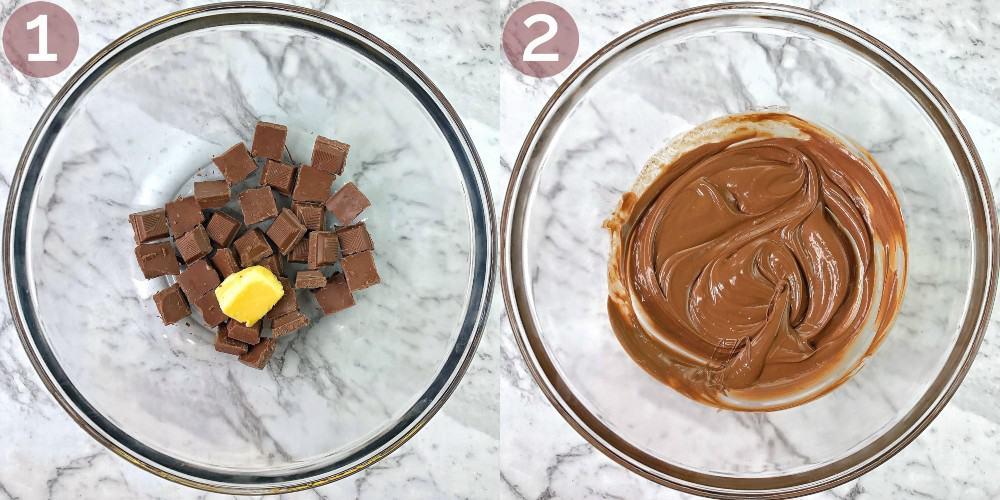 process shots showing how to make rocky road