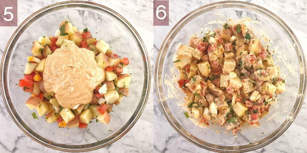 process shots showing how to make potato salad