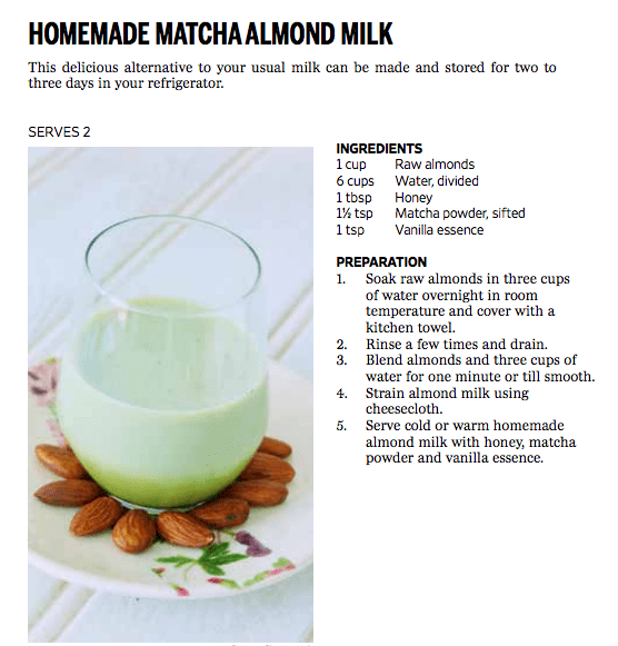 calcium recipe matcha almond milk