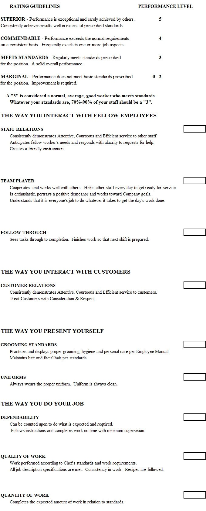 Cook Evaluation Form Chefs Resources
