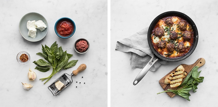 Flat lay photo of ingredients for spicy meatballs and photo of finished spicy meatballs with crostini and basil