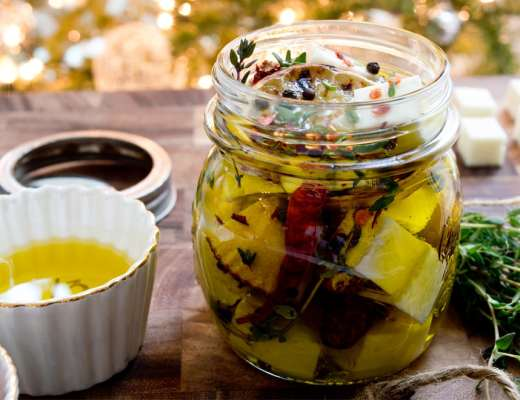 Homemade Holiday Food Gifts - Marinated Cheese