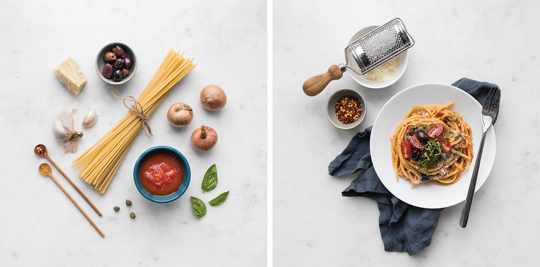 Flat Lay of ingredients and the finished Spaghetti Puttanesca