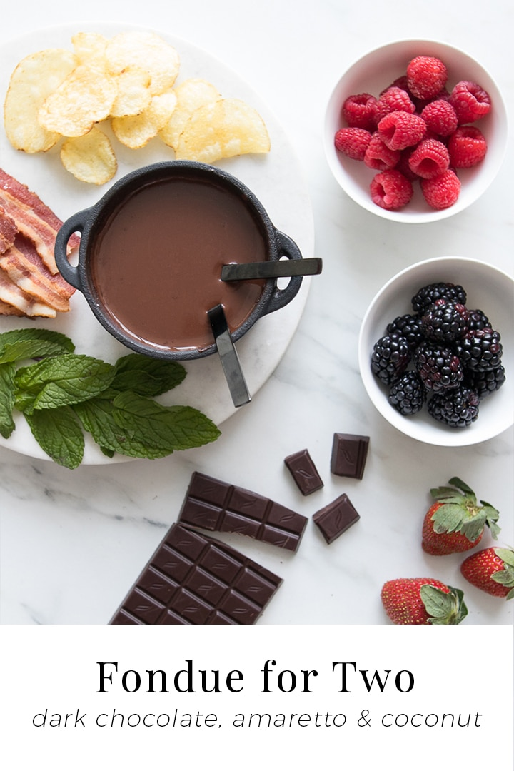 Using rich dark chocolate, creamy coconut milk and a splash of almond liqueur, our Chocolate Fondue for Two recipe is silky, decadent, and perfect for dipping fun and fresh ingredients while igniting all the senses. #BeautifulFood #Chocolate #Fondue #Dessert #Romantic #EasyDessert #DateNight